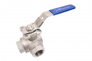 DuraChoice 3 way ball valve with NPT thread.