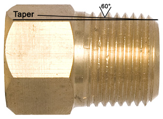A look at the taper and thread angle of an NPT gauge connection.