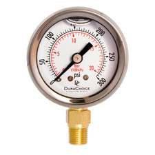 "1-1/2"" Oil Filled Pressure Gauge for water, oil, and gas (WOG) and diesel - Stainless Steel Case, Brass, 1/8"" NPT, Lower Mount Connection"