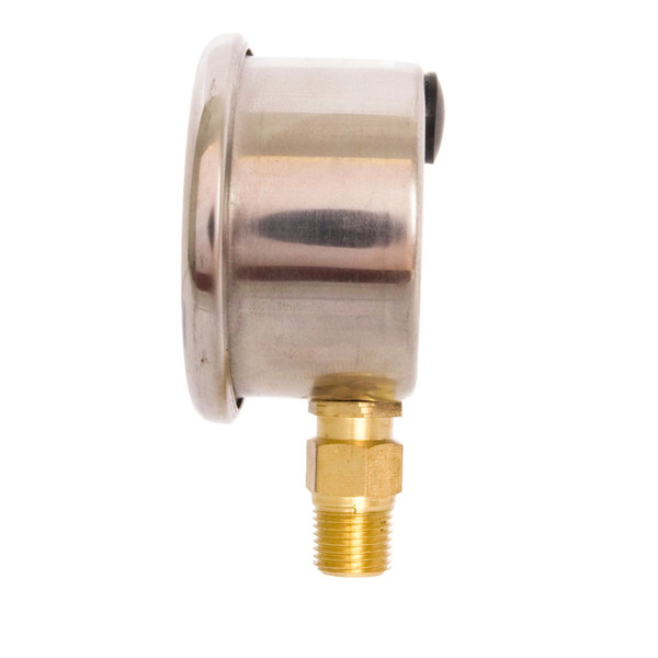 """1-1/2"""" Oil Filled Pressure Gauge for water, oil, and gas (WOG) and diesel - Stainless Steel Case, Brass, 1/8"""" NPT, Lower Mount Connection"""