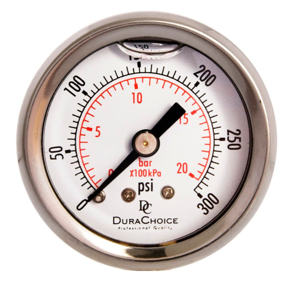 "1-1/2"" Oil Filled Pressure Gauge - Stainless Steel Case, Brass, 1/8"" NPT, Center Back Mount Connection"