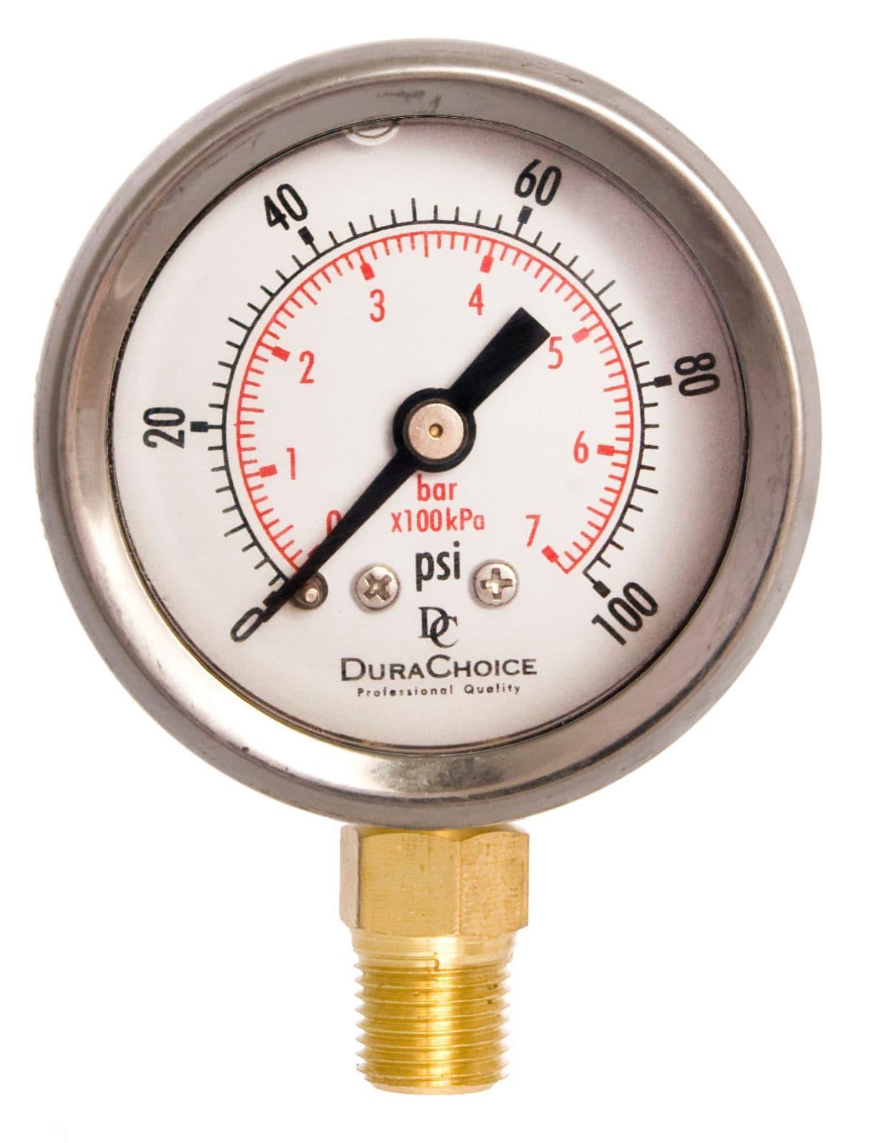 "1//2/"" NPT Stainless Steel Case 0-100PSI 4/"" Pressure Gauge Brass Lower Mnt"