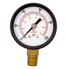 "1-1/2"" Pressure Gauges, WOG, 1/8"" NPT Lower Mount Connection, OEM"