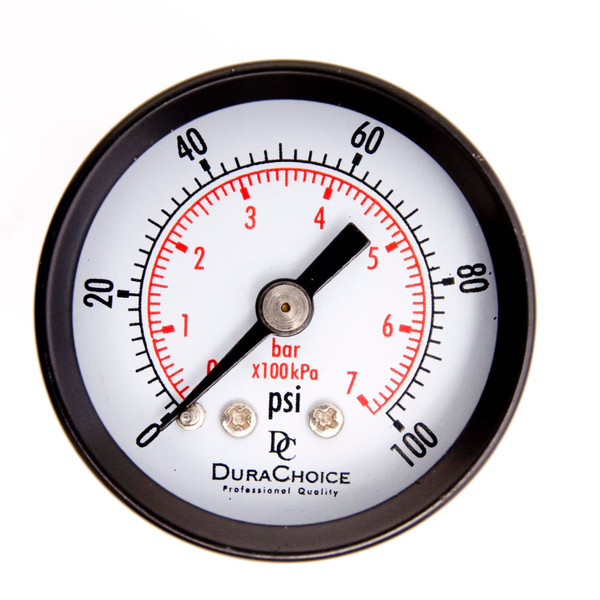 "1-1/2"" Utility Pressure Gauge for water, oil, and gas (WOG) - Black Steel 1/8"" NPT Center Back Mount"