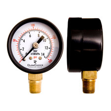 "1-1/2"" Utility Pressure Gauge, WOG, Black Steel 1/8"" NPT Lower Mount"
