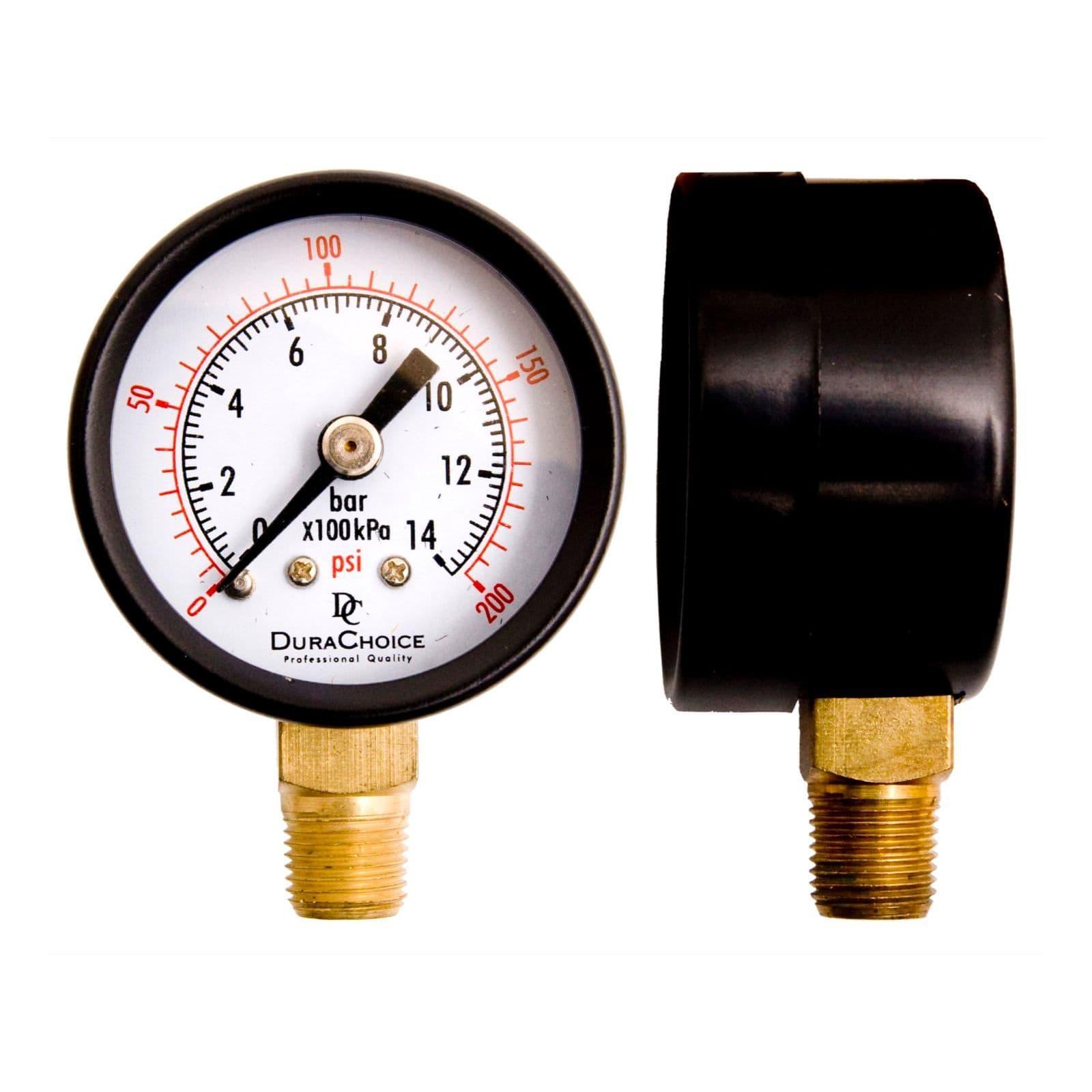 WOG 1//8 NPT Lower Mount 30HG//15PSI Black Steel DuraChoice 1-1//2 Utility Vacuum Pressure Gauge