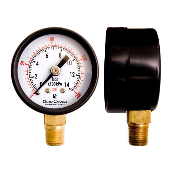 """1-1/2"""" Utility Pressure Gauge, WOG, Black Steel 1/8"""" NPT Lower Mount"""
