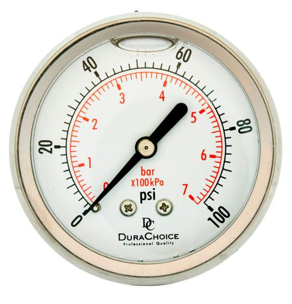 "2-1/2"" All Stainless Steel Oil Filled Pressure Gauge - 1/4"" NPT Center Back Mount"