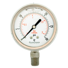 "2-1/2"" All Stainless Steel Oil Filled Pressure Gauge - 1/4"" NPT Lower Mount"
