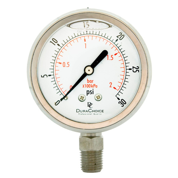 "2-1/2"" All Stainless Steel Oil Filled Pressure Gauge - 1/4"" NPT Lower Mount"