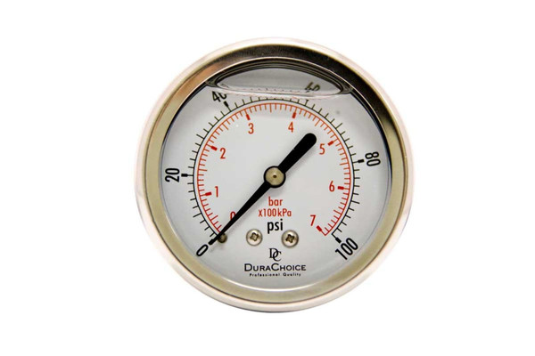 "2-1/2"" Liquid Filled Pressure Gauges - Stainless Steel Case, Brass, 1/4"" NPT, Center Back Mount Connection"