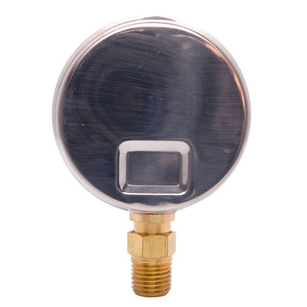 "2-1/2"" Liquid Filled Pressure Gauges - Stainless Steel Case, Brass, 1/4"" NPT, Lower Mount Connection"