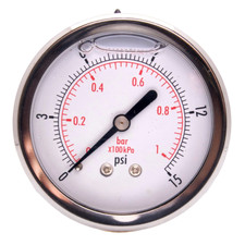 "2-1/2"" Oil-Filled Pressure Gauge - Stainless Steel Face, Brass, 1/4"" NPT Center Back Mount Connection"