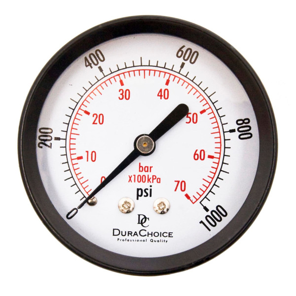 "2-1/2"" Utility Pressure Gauge for water, oil, and gas (WOG) - Black Steel 1/4"" NPT Center Back"