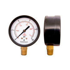 "2-1/2"" Utility Pressure Gauge for water, oil, gas (WOG) - Black Steel 1/4"" NPT Lower Mount"
