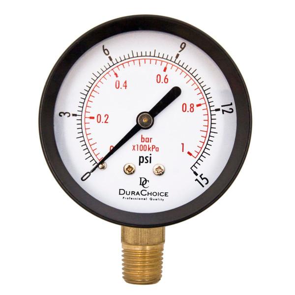 """2-1/2"""" Utility Pressure Gauge for water, oil, gas (WOG) - Black Steel 1/4"""" NPT Lower Mount"""