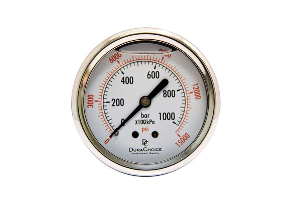 "2"" Liquid Filled Pressure Gauges - Stainless Steel Case, Brass, 1/4"" NPT, Center Back Mount Connection"