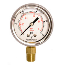 "2"" Oil Filled Pressure Gauge - Stainless Steel Case, Brass, 1/4"" NPT, Lower Mount Connection"