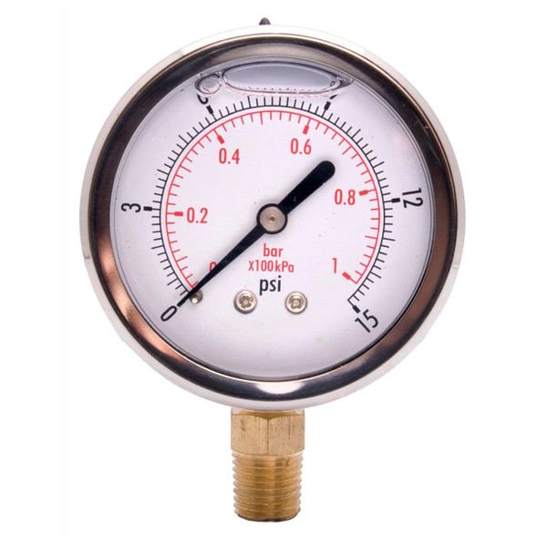"""2"""" Oil Pressure Gauge - Stainless Steel Face, Brass, 1/4"""" NPT Lower Mount Connection"""