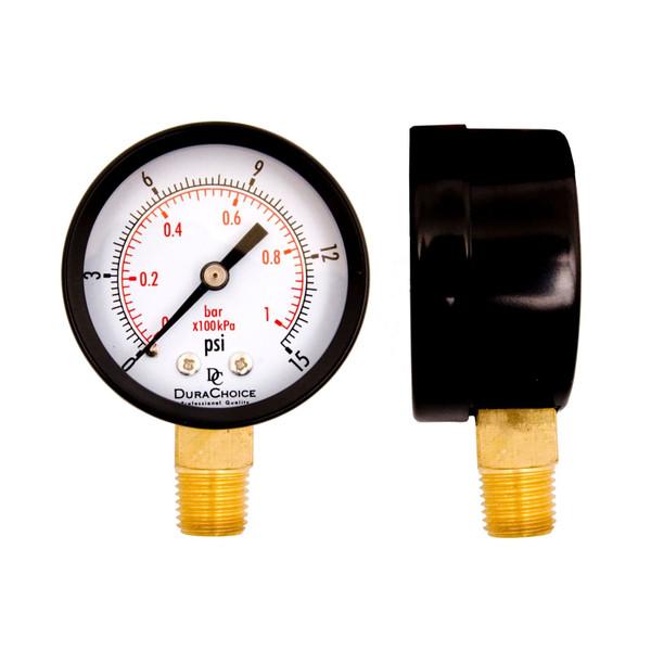 "2"" Utility Pressure Gauge for water, oil, and gas (WOG), 1/4"" NPT Lower Mount, Black Steel Case"