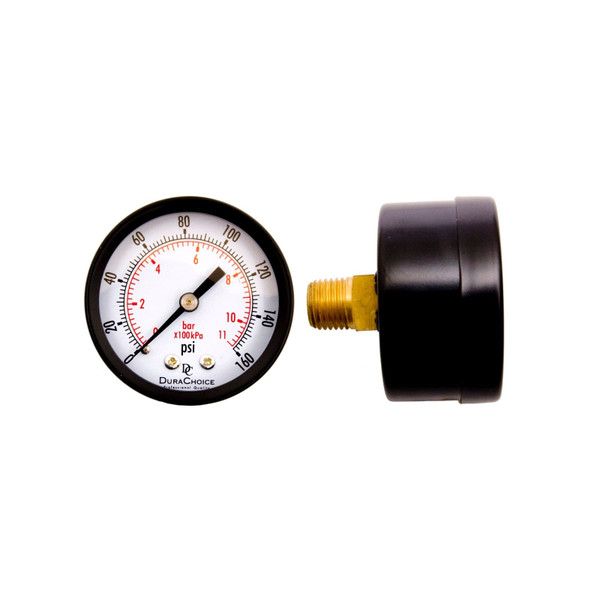 "2"" Utility Pressure Gauge for water, oil, and gas (WOG) - Black Steel 1/4"" NPT Center Back Mount"
