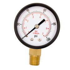 "2"" Utility Pressure Gauge (WOG), 1/4"" NPT Lower Mount Connection, Black Steel Cases, OEM"