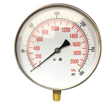 "4-1/2"" Contractor Gauge for air, water, and steam services, Stainless Steel Case, Brass Internals"