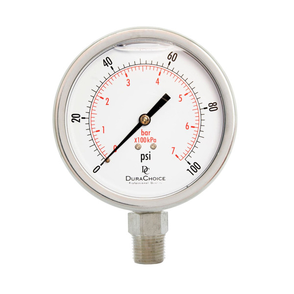 "4"" All Stainless Steel Liquid Filled Pressure Gauge, 1/2"" NPT, Lower Mount Connection"