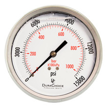 "4"" All Stainless Steel Oil Filled Pressure Gauge - 1/4"" NPT, Center Back Mount Connection"