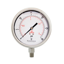 "4"" All Stainless Steel Oil Filled Pressure Gauge - 1/4"" NPT Lower Mount Connection"