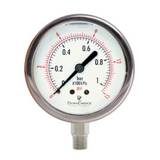 "4"" All Stainless Steel Oil Filled Pressure Gauge - 3/8"" NPT Lower Mount Connection"