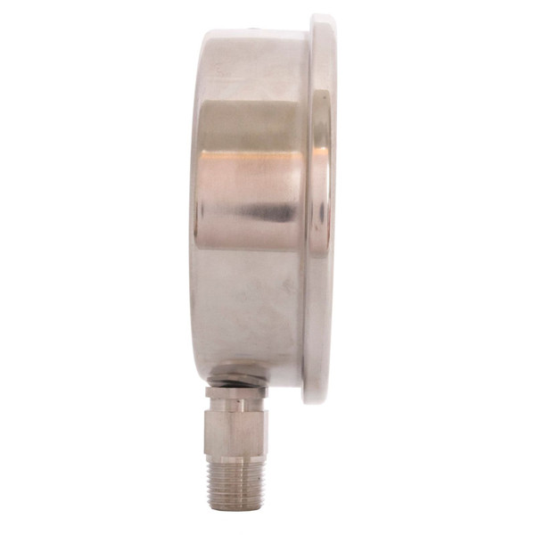 """4"""" All Stainless Steel Oil Filled Pressure Gauge - 3/8"""" NPT Lower Mount Connection"""