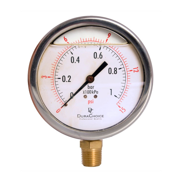 "4"" Oil Filled Pressure Gauge - Stainless Steel Case, Brass, 1/2"" NPT, Lower Mount Connection"