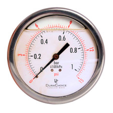 "4"" Oil Filled Pressure Gauge - Stainless Steel Case, Brass, 1/4"" NPT, Center Back Mount Connection"