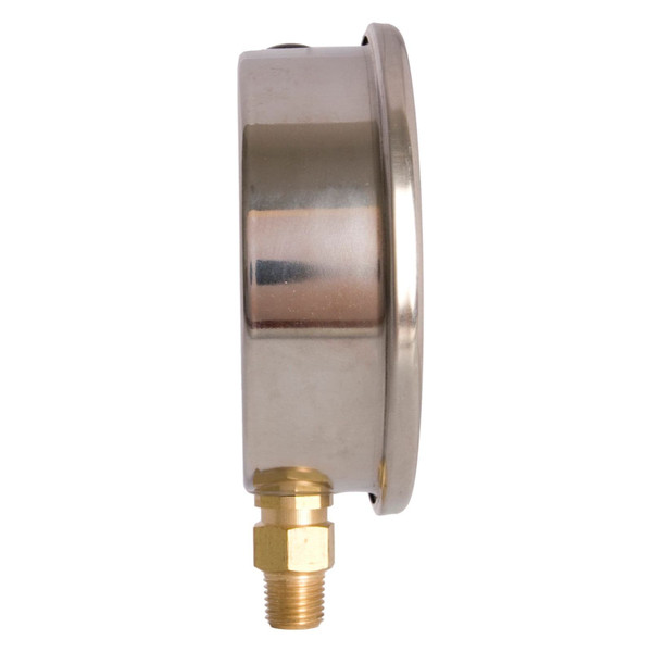 "4"" Oil Filled Pressure Gauge - Stainless Steel Case, Brass, 1/4"" NPT, Lower Mount Connection"