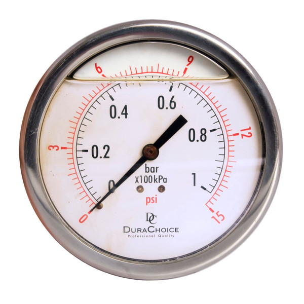 "4"" Oil Filled Pressure Gauge - Stainless Steel Case, Brass, 3/8"" NPT, Center Back Mount Connection"