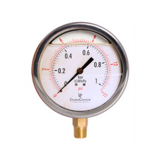 "4"" Oil Filled Pressure Gauge - Stainless Steel Case, Brass, 3/8"" NPT, Lower Mount Connection"