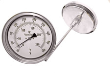 "Industrial Thermometer 5"" Face - Stainless Steel Case"