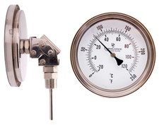"Adjustable Industrial Thermometer 5"" Face - Stainless Steel Case"