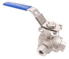 Stainless Steel (316) 3-Way Ball Valve - L Port With Mounting Pad - 1,000 PSI (WOG)