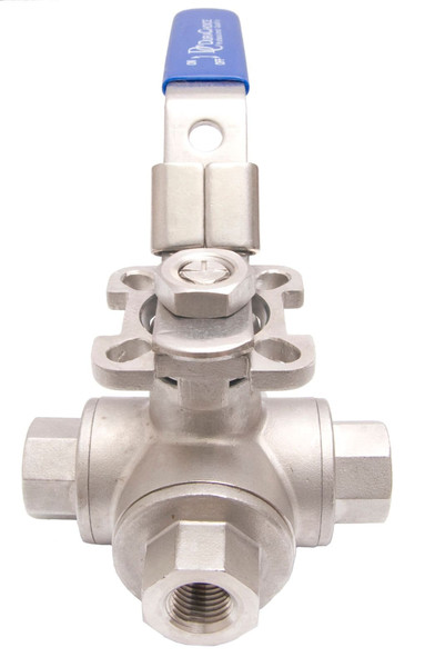 Stainless Steel (316) 3-Way Ball Valve - T Port With Mounting Pad - 1,000 PSI (WOG)