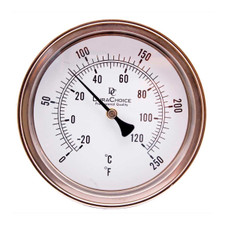 "Adjustable Industrial Bimetal Thermometer 5"" Face - Stainless Steel Case w/Calibration Dial"