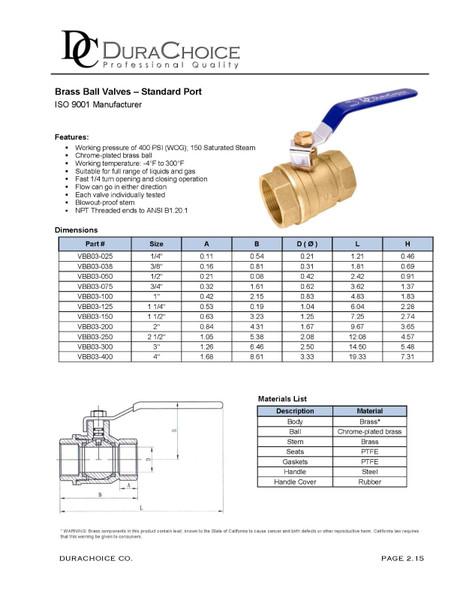 Brass Ball Valve - Standard Port 400 psi (WOG)
