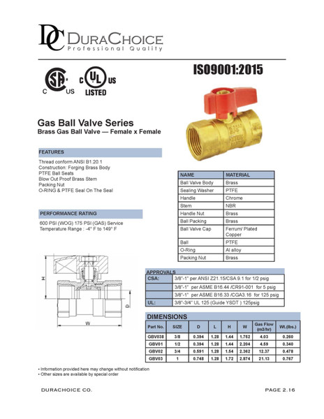 Brass Gas Ball Valve - UL Listed, CSA, Female by Female