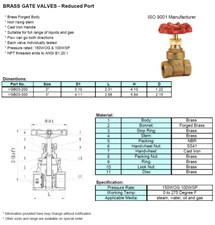 Brass Gate Valves - Reduced Port