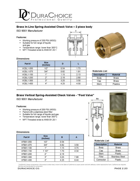 Brass Vertical Spring-Assisted Check Valve (Foot Valve)