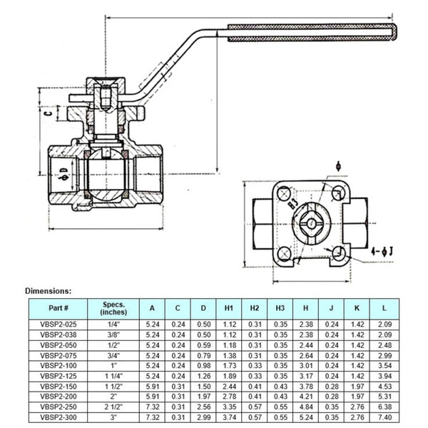 Carbon Steel (316) Ball Valve - 2-piece w/ Mounting Pad, 1,000 psi