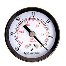 Dry Utility Vacuum Gauge, WOG, Black Steel Case, NPT Connection, Center Back Mount
