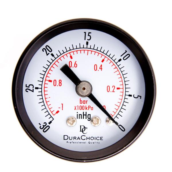 Dry Utility Vacuum Gauge, WOG, Black Steel Case, NPT Connection, Center Back Mount
