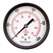 "DuraChoice 2"" Dial Utility Pressure Gauge, Water Oil Gas, 1/4"" NPT Center Back Mount, Black Steel Case"